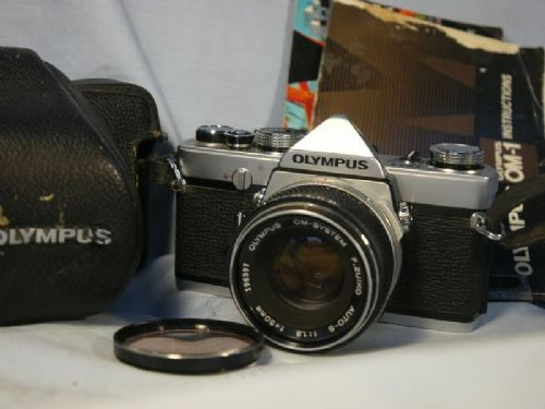 '   1 -PRE MD-CASED + INST + 50MM WHITE NOSE ' Olympus OM-1 PRE MD -EARLY Professional SLR Camera c/w 50mm Cased  £69.99